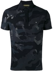 Valentino Rockstud Camouflage Polo Shirt Men Cotton M Black