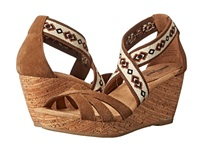 Minnetonka Drew Dusty Brown Suede Women's Wedge Shoes