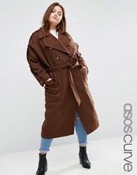 Asos Curve Wool Trench Coat With Eppaulette Brick Orange