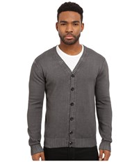 Publish Casimir Fashion Cardigan With Pigmented Oil Wash Black Men's Sweater