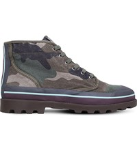 Valentino Camouflage High Top Canvas Trainers Khaki