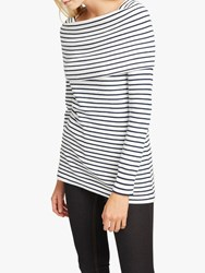 French Connection Stripe Cowl Neck Wrap Top Winter White Navy