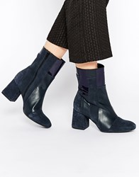 Warehouse Patchwork Boot Navy