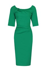 Jolie Moi 1 2 Sleeve Ruched Wiggle Dress Green