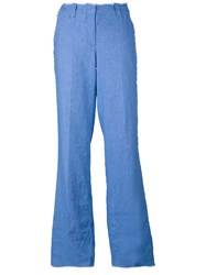 Dondup Wide Leg Raw Trousers Women Cotton Linen Flax Spandex Elastane 44 Blue
