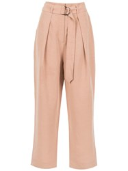 Andrea Marques Belted Cropped Trousers Nude And Neutrals