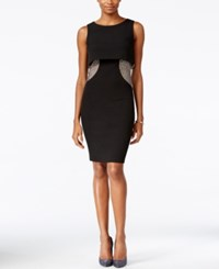 Jax Popover Rhinestone Sheath Dress Black