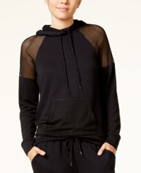 Material Girl Active Juniors' Mesh Inset Hoodie Created For Macy's Black