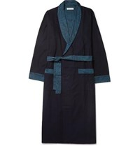 Desmond And Dempsey Brushed Cotton Jersey Robe Blue