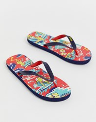 Polo Ralph Lauren Whittlebury Hawaiian Flip Flop With Branding In Red