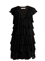 Givenchy Ruffle Trimmed Eyelet Embellished Crepe Dress Black