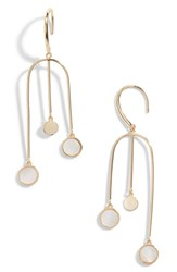 Argentovivo Argento Vivo Swing Drop Mother Of Pearl Earrings Mother Of Pearl Gold