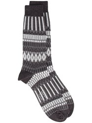 Ayame Grey And White Lunch Patterned Socks Cotton Nylon Black