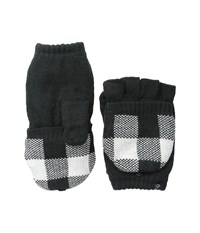 Plush Fleece Lined Plaid Texting Mittens Black White Over Mits Gloves