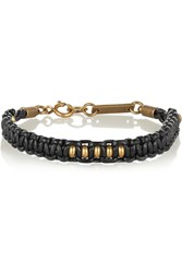 Isabel Marant Kutztown Braided Leather And Gold Tone Bracelet Black