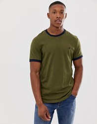 Jack Wills Baildon Ringer T Shirt In Dark Green