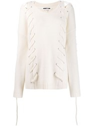 Mcq By Alexander Mcqueen Lace Up Jumper White