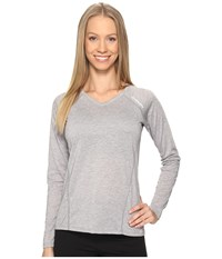 Brooks Distance Long Sleeve Heather Sterling Women's Clothing White