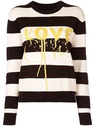 Zadig And Voltaire Love Print Striped Jumper Black