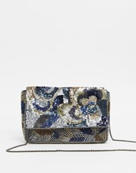 Accessorize Jasmine Clutch With Beading And Sequins Multi