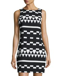 Nicole Miller Geometric Print Sleeveless Shift Dress Black White