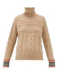 Burberry High Neck Cable Knit Cashmere Sweater Camel