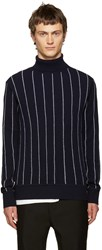 Juun.J Navy Pinstriped Turtleneck