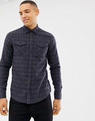 Blend Of America Slim Fit Check Shirt In Blue