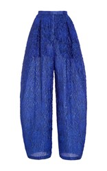 Delpozo High Waisted Pleated Trousers Blue