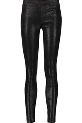 J Brand Edita Glittered Stretch Leather Leggings Black
