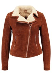 Freaky Nation Teddy Star Leather Jacket Cognac Brown