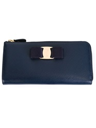 Salvatore Ferragamo 'Vara' Bow Wallet Blue