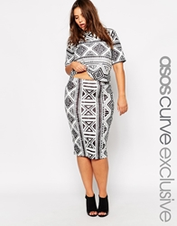 Asos Curve Co Ord Pencil Skirt In Aztec Print Blackwhite