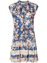 Rebecca Taylor Floral Print Dress Women Silk Viscose 0 Blue