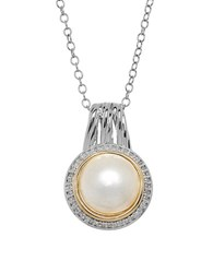 Lord And Taylor 11 12Mm White Pearl Diamond Two Tone Pendant Necklace Silver