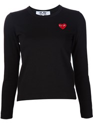 Comme Des Gara Ons Play Heart Application Sweatshirt Black