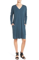Eileen Fisher Women's Silk Jersey V Neck Shift Dress Fir