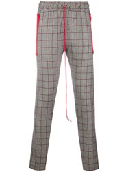 Represent Contrast Plaid Trousers Grey
