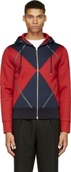 Moncler Gamme Bleu Navy And Red Neoprene Hoodie