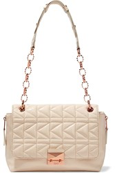Karl Lagerfeld Quilted Patent Leather Shoulder Bag White