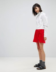 House Of Sunny Mini Skirt With Double Tie Detail Red