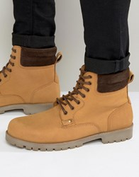 Asos Lace Up Boots In Tan Leather Tan