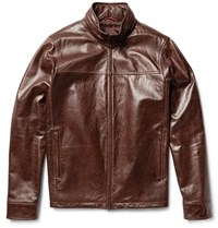 Isaia Washed Leather Jacket Brown