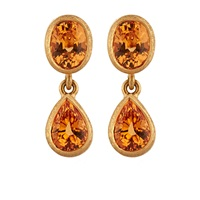 Malcolm Betts Orange Garnet Double Drop Earrings