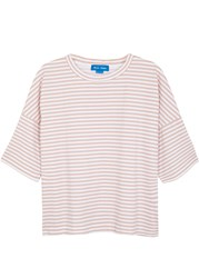 Mih Jeans Pink Striped Cotton T Shirt Pink And White