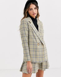 Daisy Street Double Breasted Blazer In Check Co Ord Multi