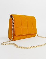 French Connection Rafa Quilted Velvet Bag With Chain Strap Yellow