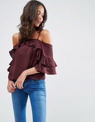 Asos Cold Shoulder Top In Satin With Ruffle Sleeve Oxblood Red