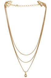 Frasier Sterling Glitter And Gold Layered Necklace Metallic Gold