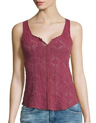Free People Crinkled Floral Lace Cami Raspberry